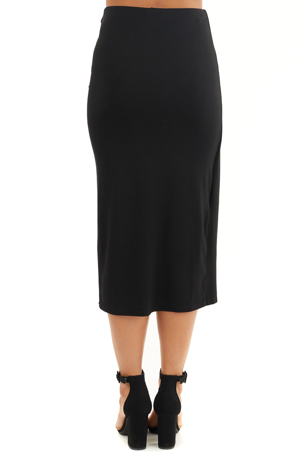 Black Faux Wrap Knit Midi Skirt with Elastic Waistband back view