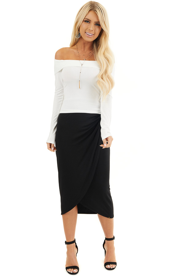 Black Faux Wrap Knit Midi Skirt with Elastic Waistband front full body