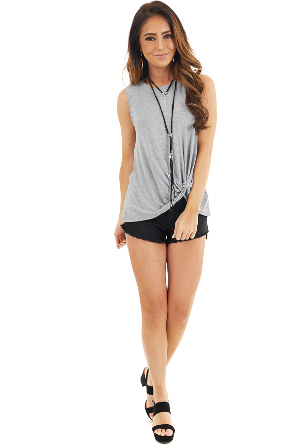 Dove Grey Sleeveless Knit Tank Top with Twist Front Detail front full body