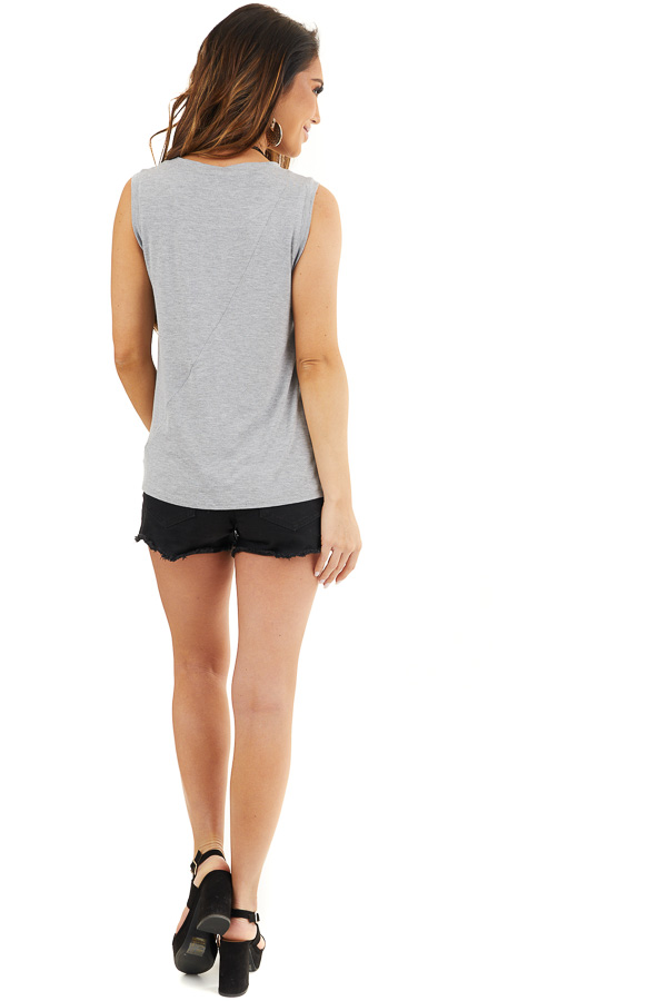 Dove Grey Sleeveless Knit Tank Top with Twist Front Detail back full body