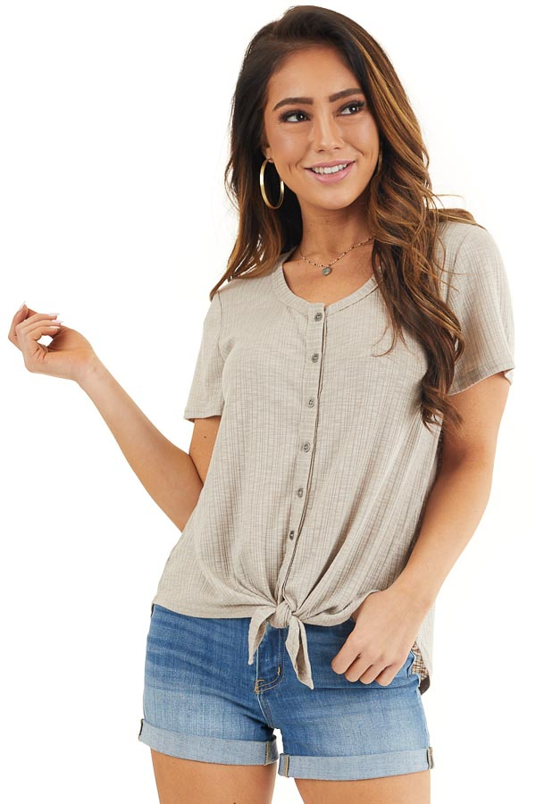 Taupe Ribbed Short Sleeve Button Up Top with Front Tie front close up