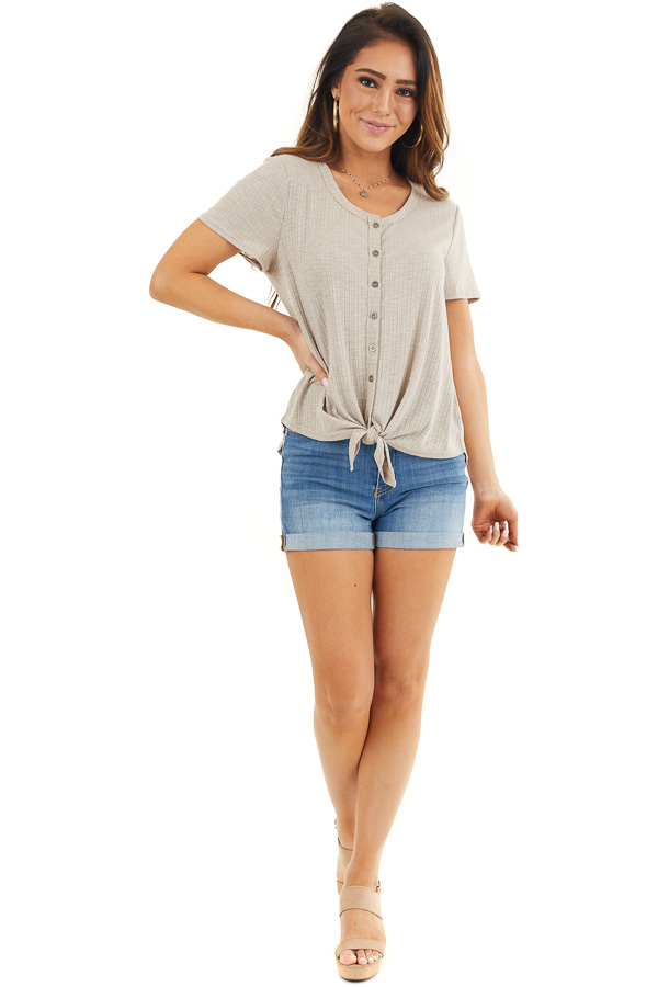 Taupe Ribbed Short Sleeve Button Up Top with Front Tie front full body