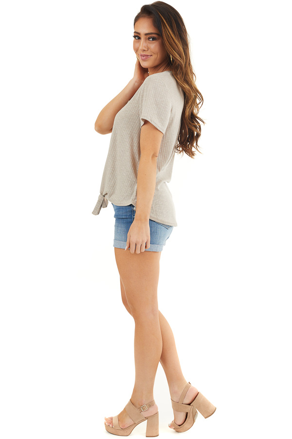 Taupe Ribbed Short Sleeve Button Up Top with Front Tie side full body
