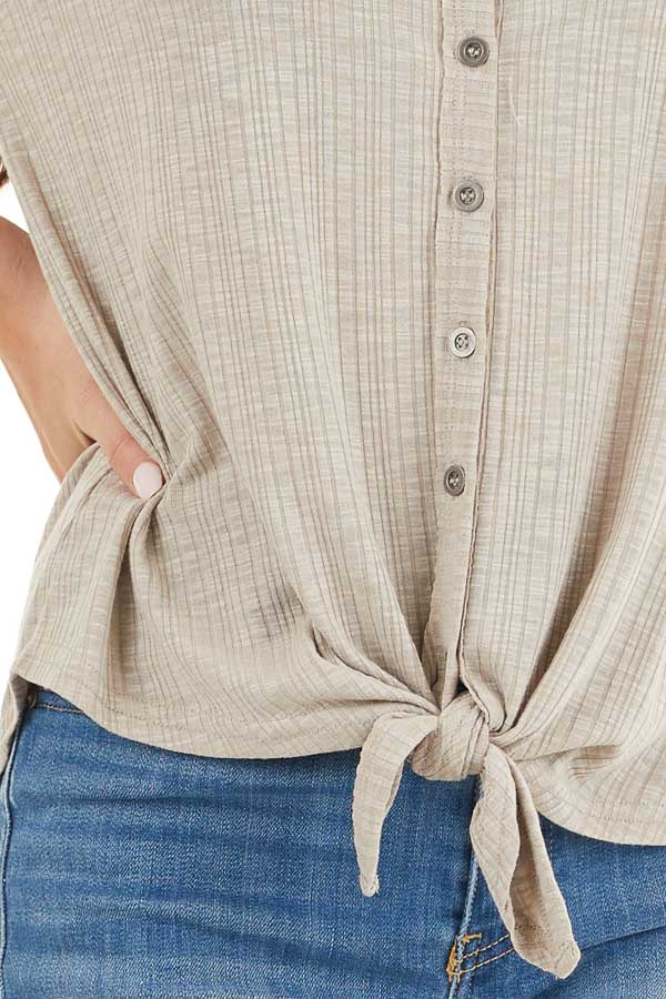 Taupe Ribbed Short Sleeve Button Up Top with Front Tie detail
