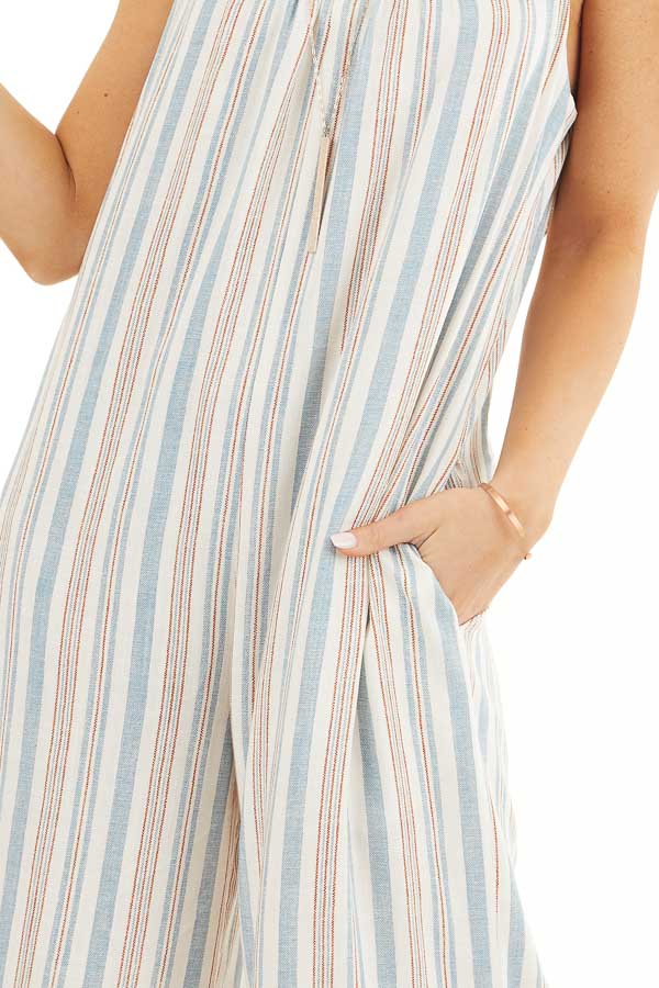 Ivory Multicolor Striped Sleeveless Jumpsuit with Pockets detail