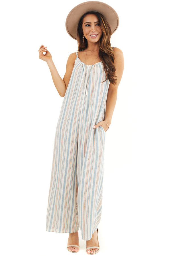 Ivory Multicolor Striped Sleeveless Jumpsuit with Pockets front full body