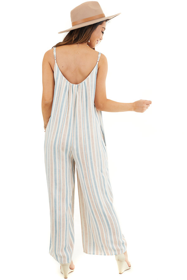 Ivory Multicolor Striped Sleeveless Jumpsuit with Pockets back full body