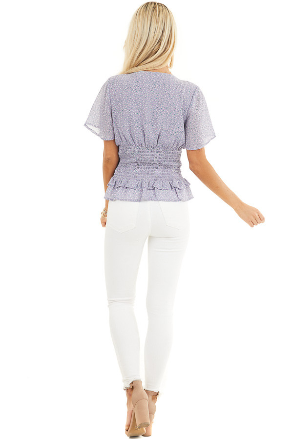 Lavender Floral Print Smocked Top with Button Up Detail back full body
