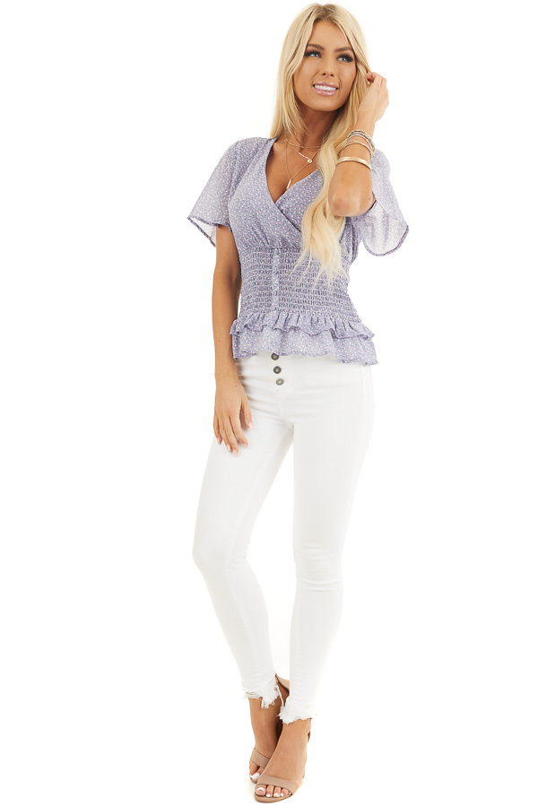 Lavender Floral Print Smocked Top with Button Up Detail front full body