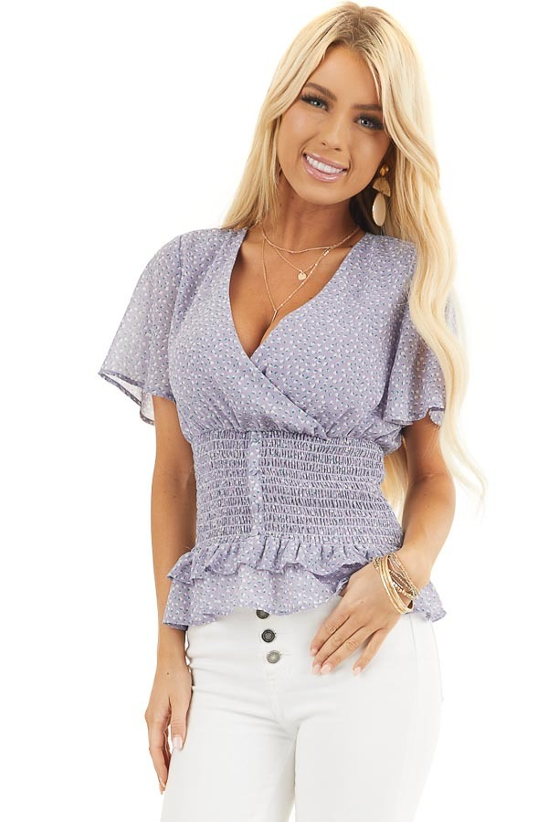 Lavender Floral Print Smocked Top with Button Up Detail front close up