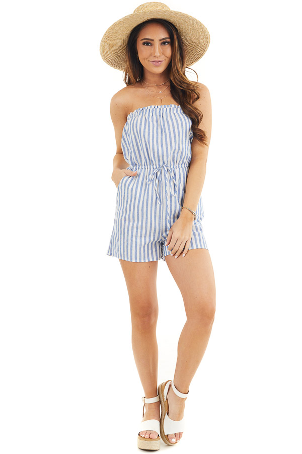 White and Blue Striped Strapless Romper with Pockets front full body