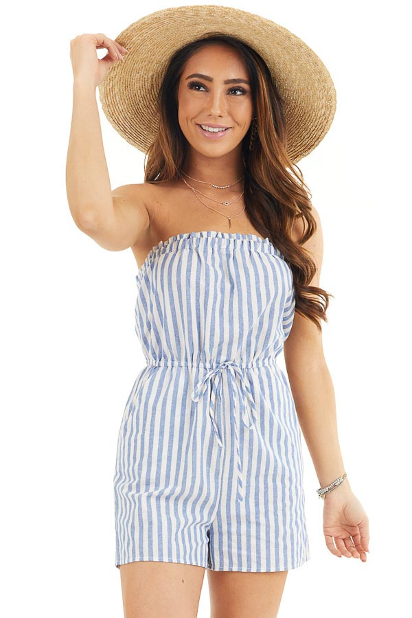 White and Blue Striped Strapless Romper with Pockets front close up
