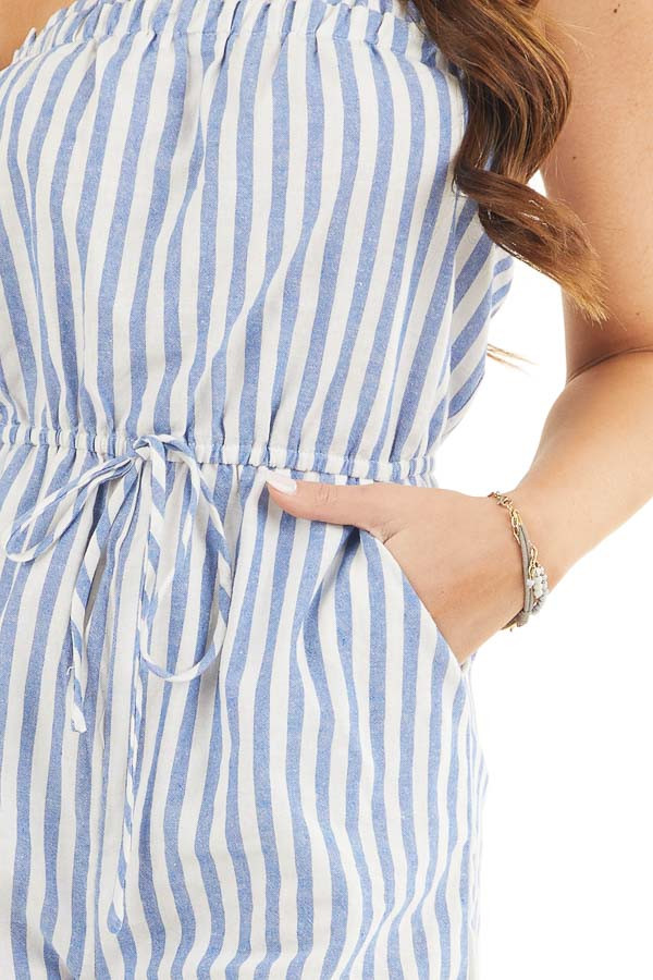 White and Blue Striped Strapless Romper with Pockets detail