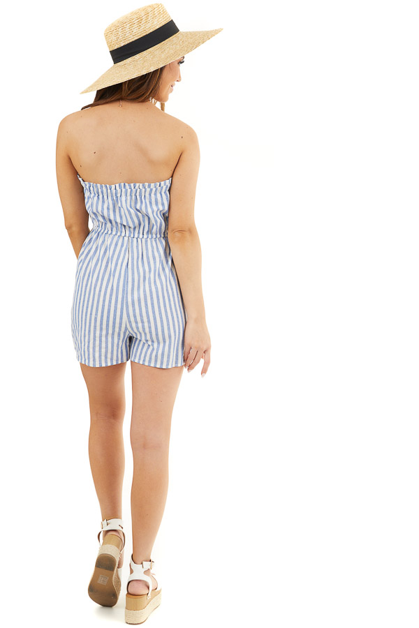 White and Blue Striped Strapless Romper with Pockets back full body