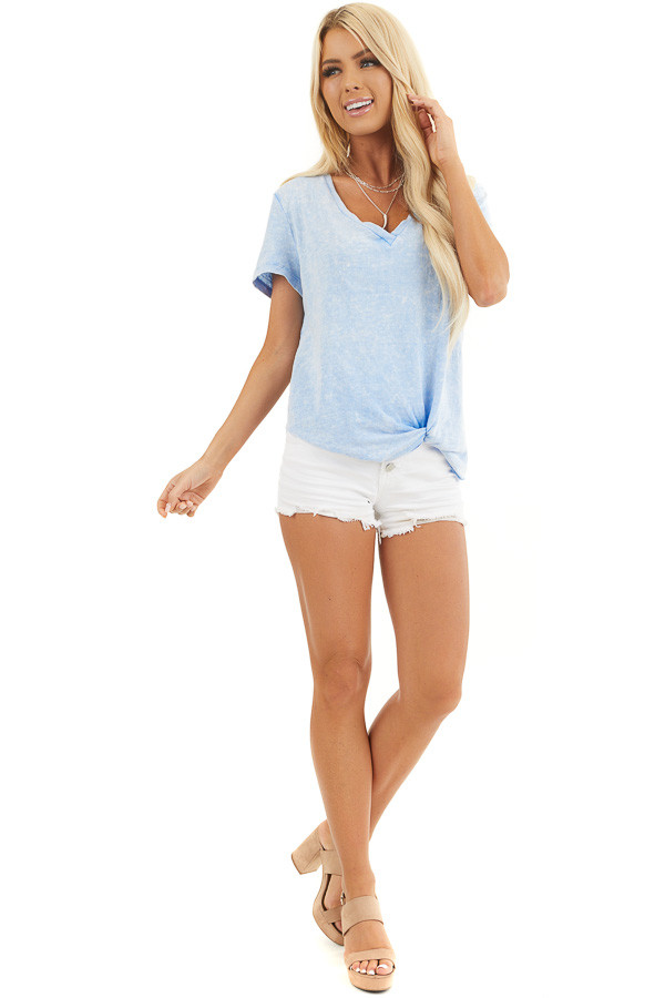 Baby Blue Washed Knit Top with V Neckline and Front Twist front full body