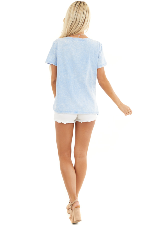 Baby Blue Washed Knit Top with V Neckline and Front Twist back full body