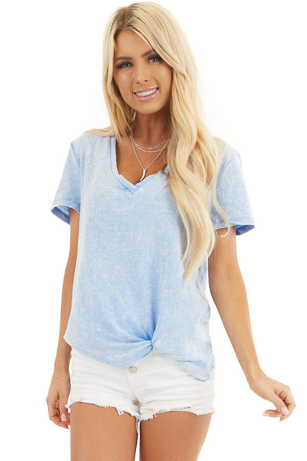 Baby Blue Washed Knit Top with V Neckline and Front Twist front close up