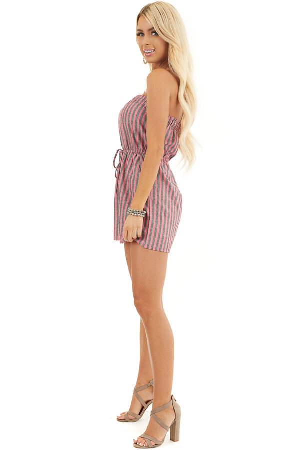 Pink and Charcoal Striped Strapless Romper with Pockets side full body