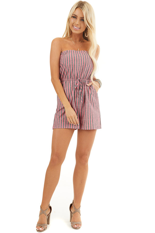 Pink and Charcoal Striped Strapless Romper with Pockets front full body