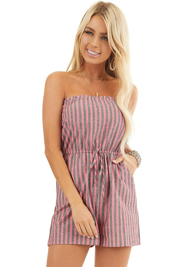 Pink and Charcoal Striped Strapless Romper with Pockets front close up