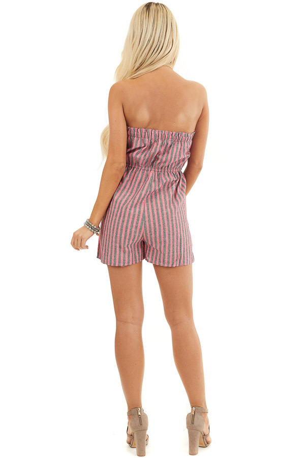 Pink and Charcoal Striped Strapless Romper with Pockets back full body