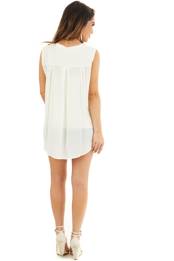 Off White Sleeveless Henley Tank Top with Chest Pockets back full body