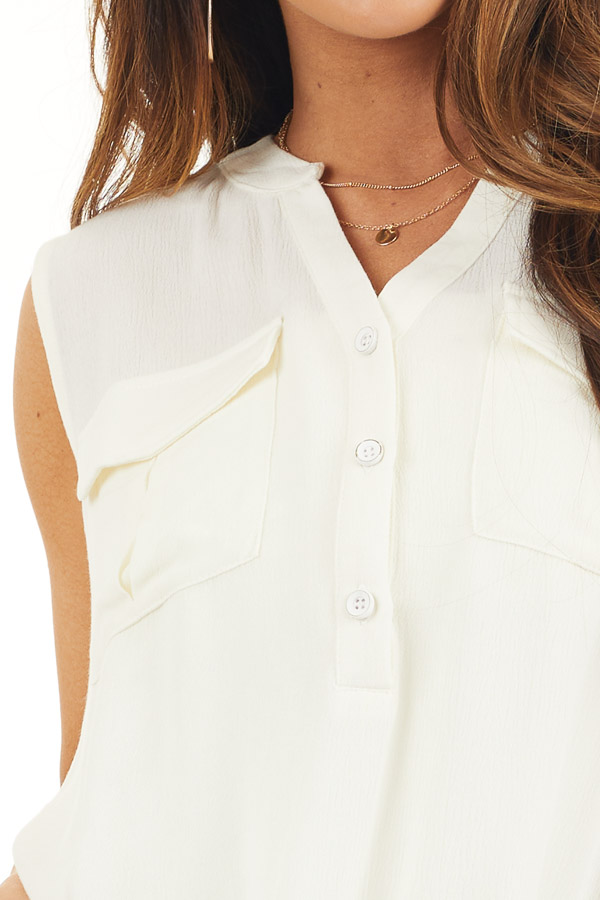 Off White Sleeveless Henley Tank Top with Chest Pockets detail