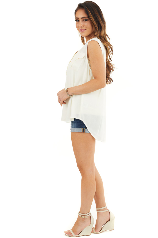 Off White Sleeveless Henley Tank Top with Chest Pockets side full body