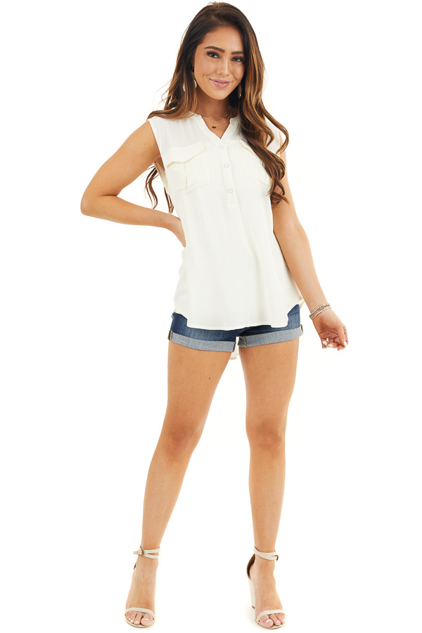 Off White Sleeveless Henley Tank Top with Chest Pockets front full body