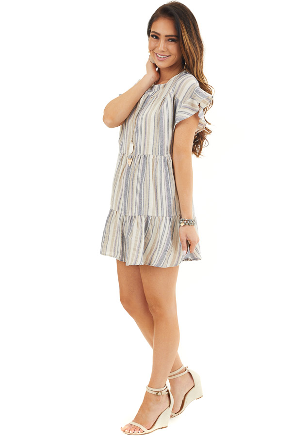 Cream Multicolor Striped Dress with Short Flutter Sleeves front full body
