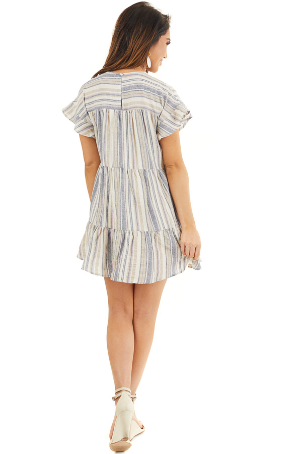 Cream Multicolor Striped Dress with Short Flutter Sleeves back full body
