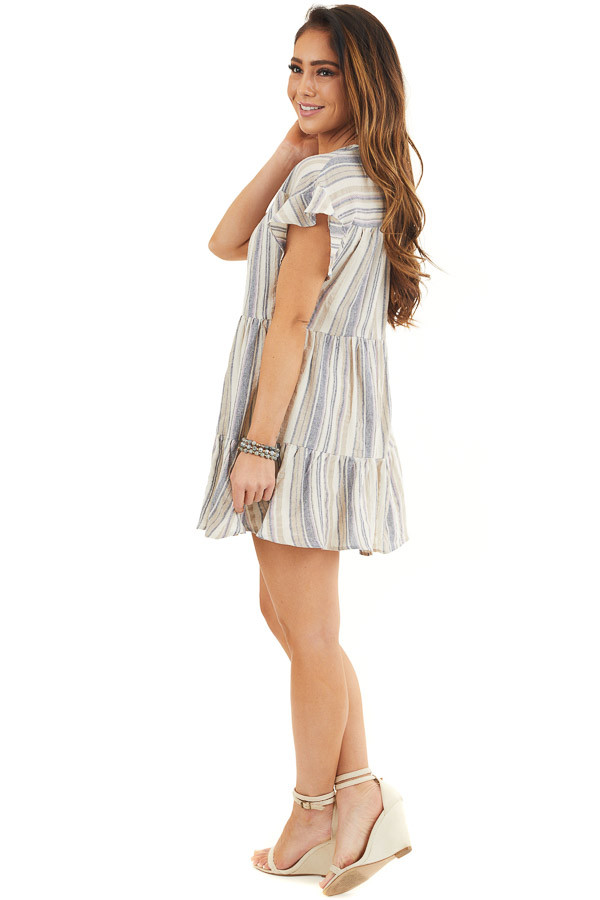Cream Multicolor Striped Dress with Short Flutter Sleeves side full body