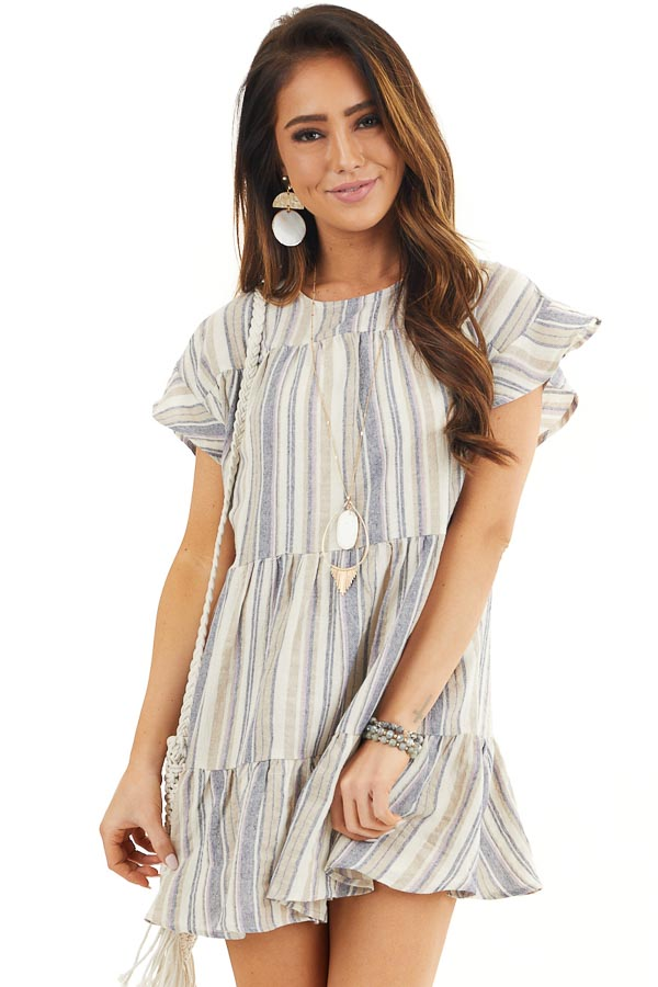 Cream Multicolor Striped Dress with Short Flutter Sleeves front close up