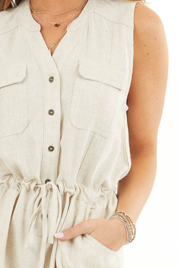 Oatmeal Sleeveless Button Up Romper with Pockets and Tie detail