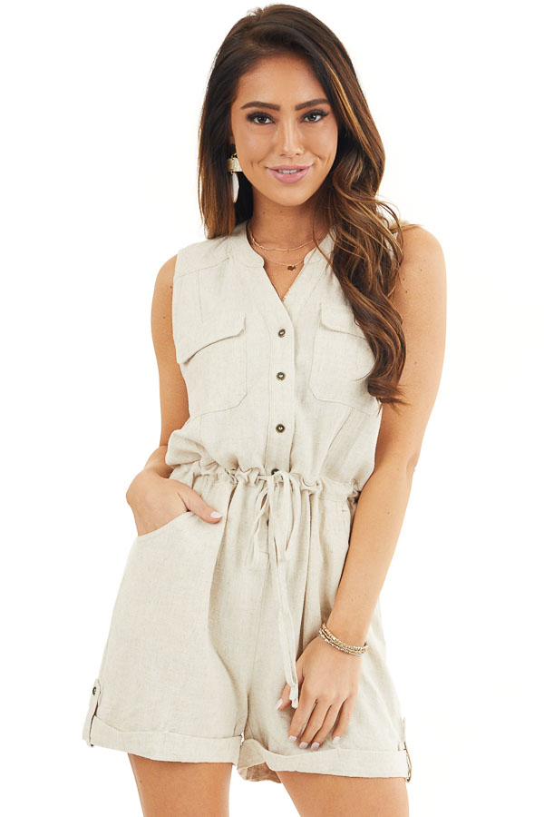 Oatmeal Sleeveless Button Up Romper with Pockets and Tie front close up