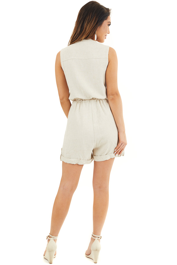 Oatmeal Sleeveless Button Up Romper with Pockets and Tie back full body
