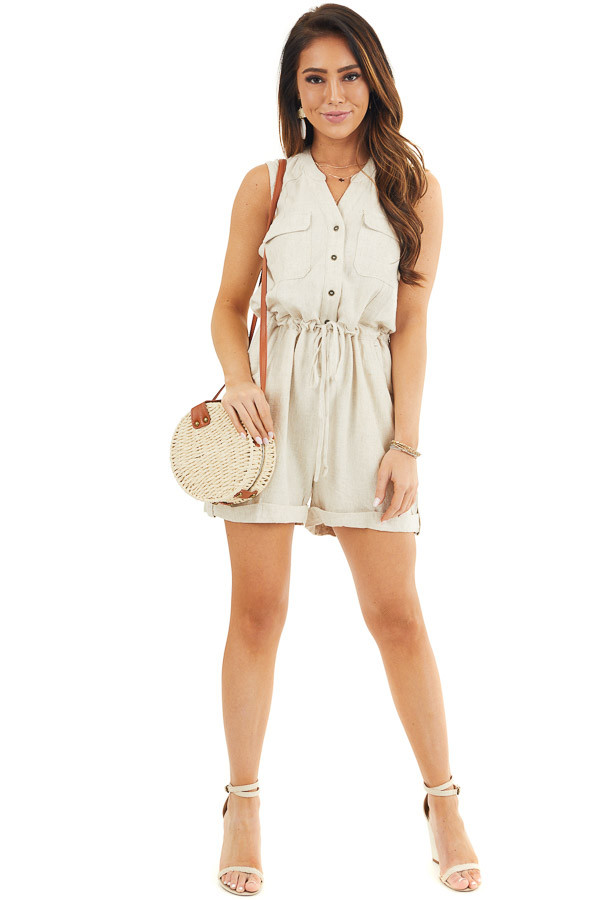Oatmeal Sleeveless Button Up Romper with Pockets and Tie front full body
