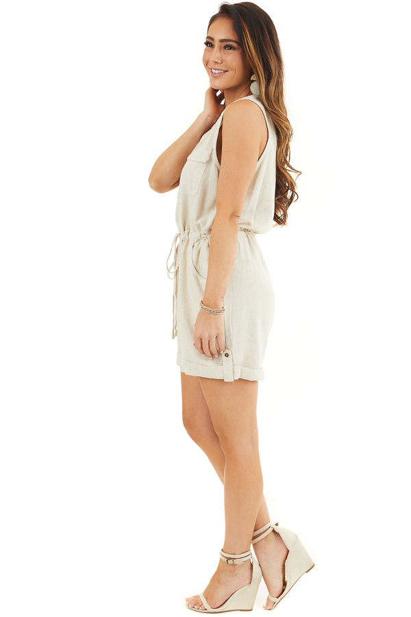 Oatmeal Sleeveless Button Up Romper with Pockets and Tie side full body