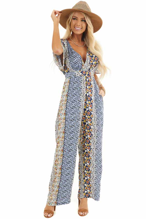 Powder Blue Floral Print Short Sleeve Jumpsuit with Back Tie front full body