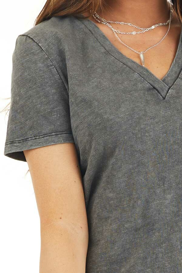 Charcoal Washed Knit Top with V Neckline and Front Twist detail