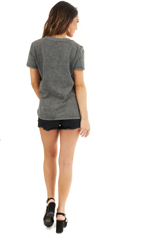Charcoal Washed Knit Top with V Neckline and Front Twist back full body