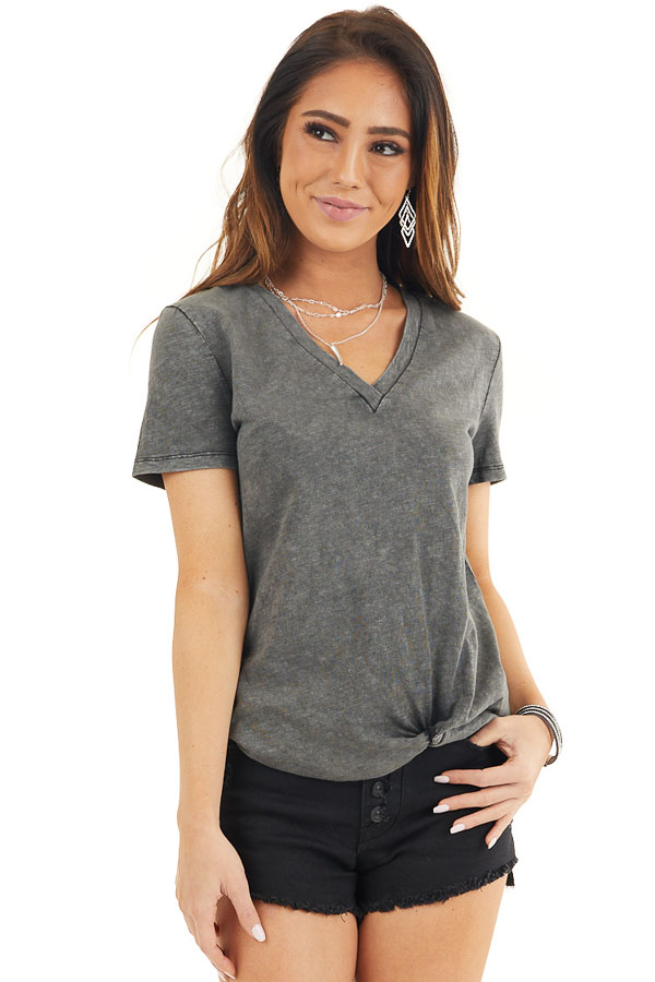 Charcoal Washed Knit Top with V Neckline and Front Twist front close up