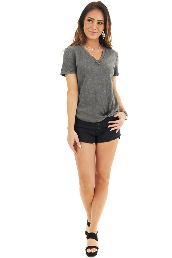 Charcoal Washed Knit Top with V Neckline and Front Twist front full body
