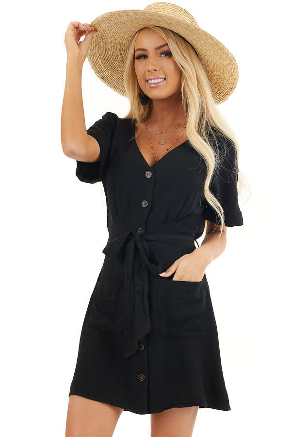 Black Button Up Short Sleeve Mini Dress with Waist Tie front close up
