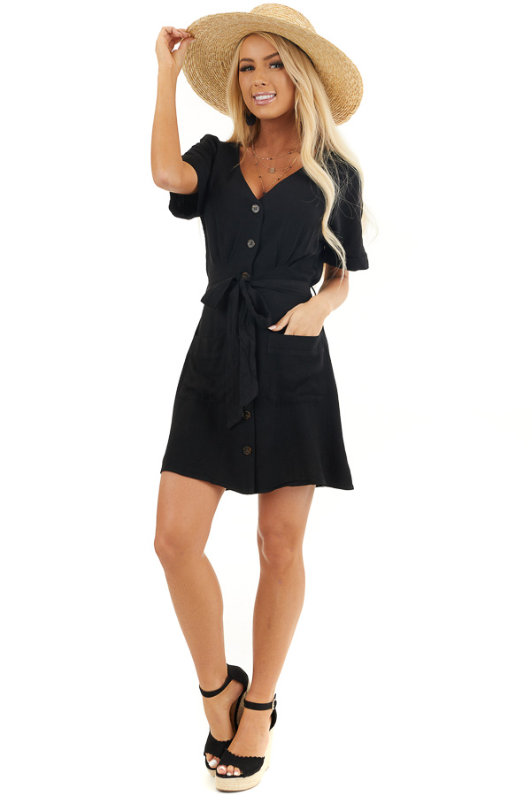 Black Button Up Short Sleeve Mini Dress with Waist Tie front full body