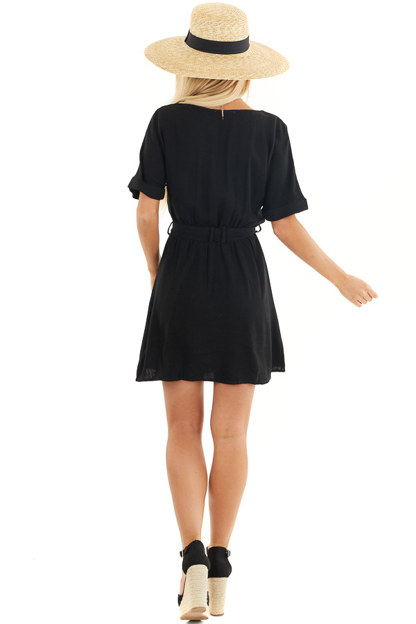 Black Button Up Short Sleeve Mini Dress with Waist Tie back full body