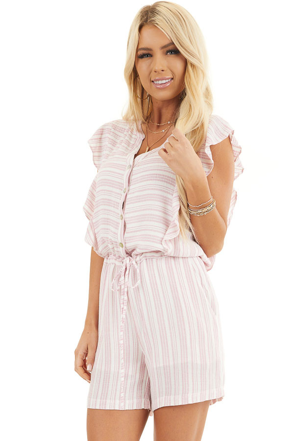 Baby Pink and Ivory Striped Romper with Ruffle Sleeves front close up