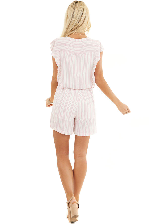 Baby Pink and Ivory Striped Romper with Ruffle Sleeves back full body