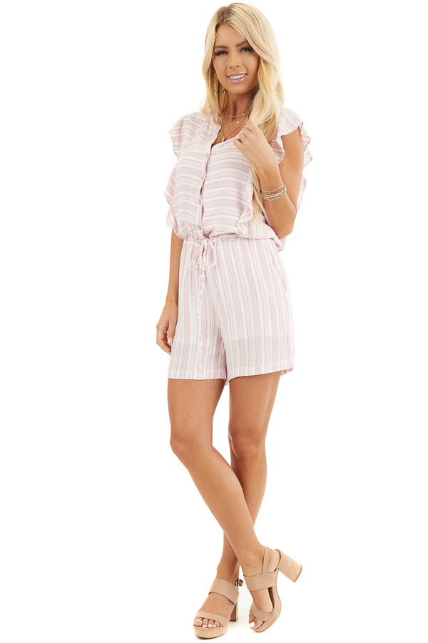 Baby Pink and Ivory Striped Romper with Ruffle Sleeves front full body