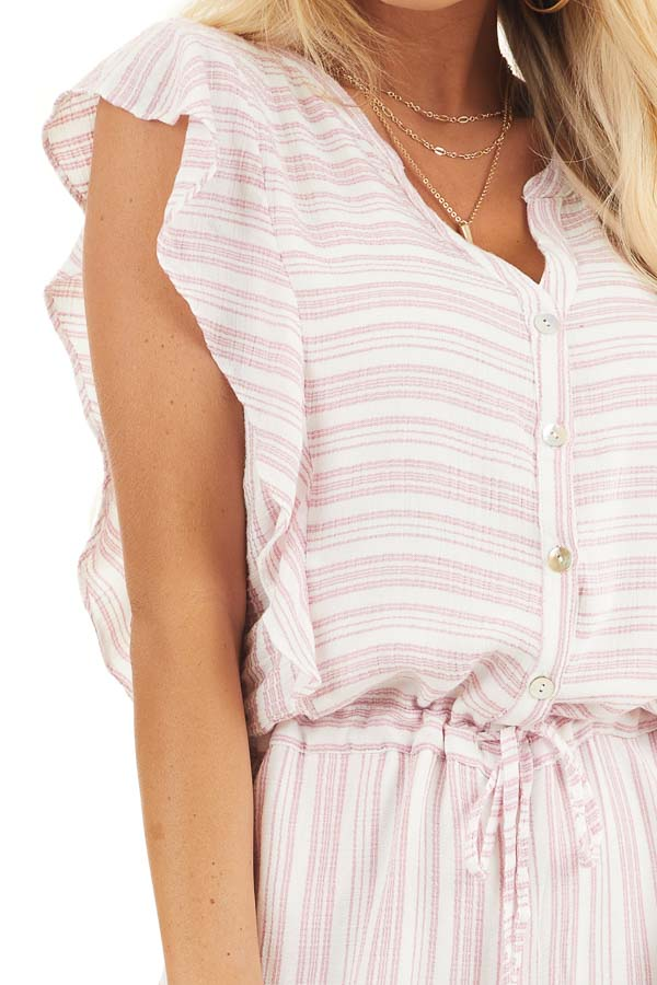 Baby Pink and Ivory Striped Romper with Ruffle Sleeves detail
